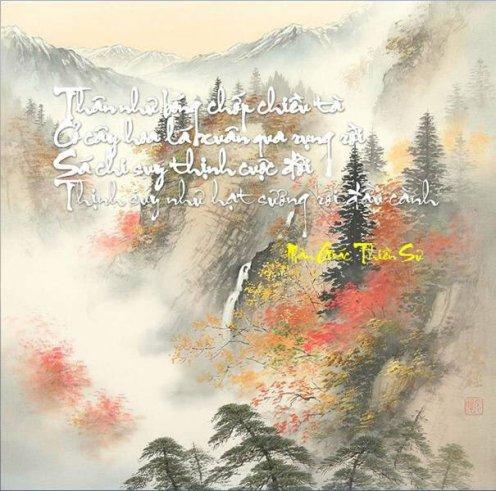Thân như bóng chớp chiều tà Cỏ cây hoa lá xuân qua rụng rời Sá chi suy thịnh cuộc đời Thịnh suy như hạt sương rơi đầu cành (Mãn Giác Thiền Sư)